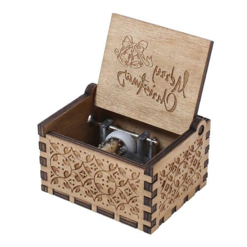 Antique Carved Wooden Hand Crank Music Box Birthday New Year Decor Kids Gift #