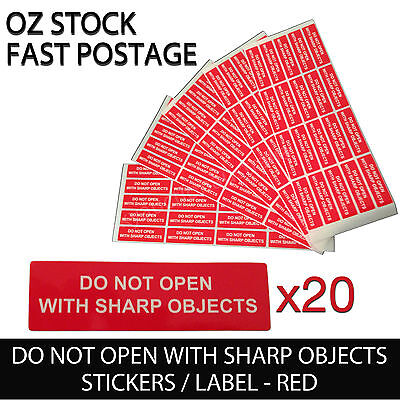 """Red Warning Sticker Adhesive Label /""""Do Not Open with Sharp Objects/"""" 20pcs"""