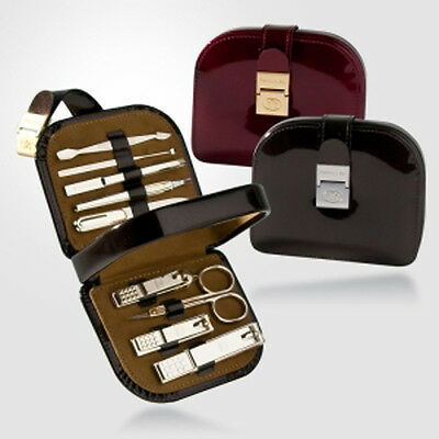Three Seven 777 Travel Manicure Pedicure Grooming Set, TS-8010G, Red/Brown