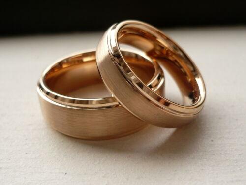 Carbure de tungstène plaqué or rose son /& Her Wedding Band Ring Set 8/&6MM SZ 5-15