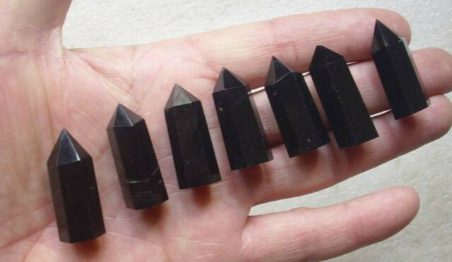 7 NATURAL TINY OBSIDIAN CRYSTAL POINTS POLISHED HEALING