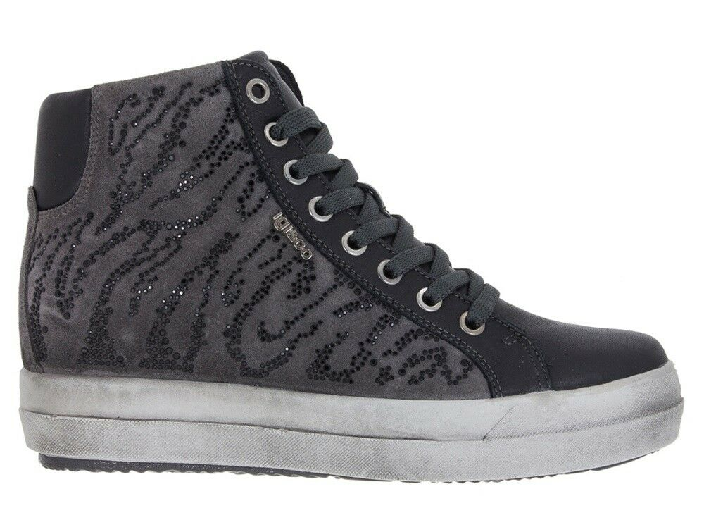 IGI & CO 87735 gris gris gris zapatos de mujer zapatillas botín bajo piel ante strass 9ac03d
