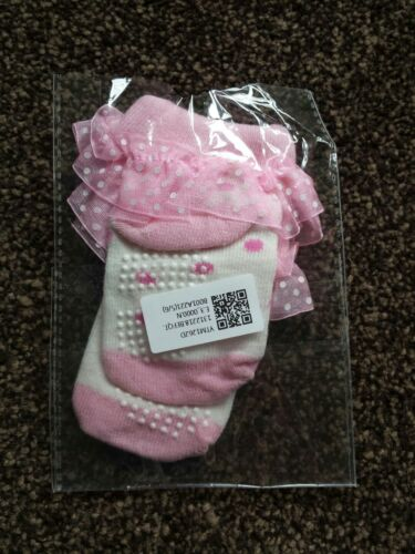 Brand New Baby Girls Pink Princess Frilly Dotty Socks 0-3