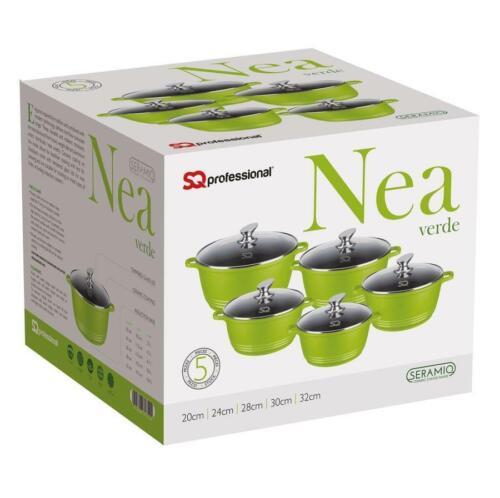 Nea 5pc Die-cast Aluminium Casserole Non-Stick Stockpot Set With Lids