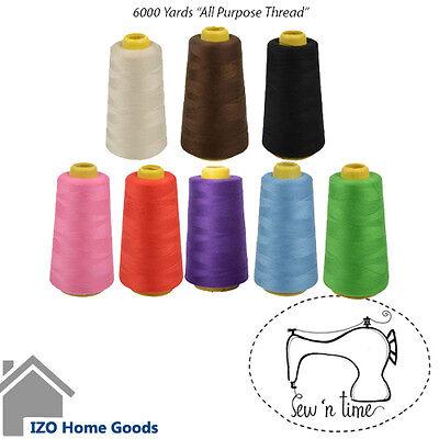 BLACK 6000 Yards  Quality Overlocking serger Sewing Machine Polyester Thread