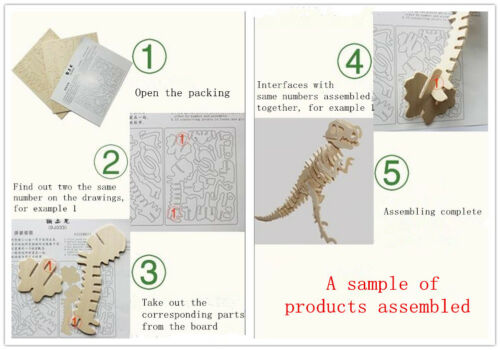 Child Assembly DIY Education Toy for 3D Wooden Model Puzzles Saxophone Music