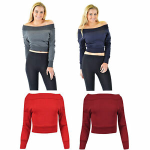 Womens-Ladies-Long-Sleeve-Off-Shoulder-Fleece-Crop-Top-Pack-Of-2