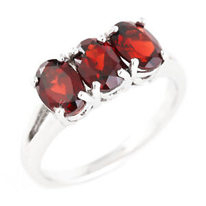 100-NATURAL-7X5MM-GARNET-DEEP-RED-3-STONE-RARE-STERLING-SILVER-925-RING-SIZE-8