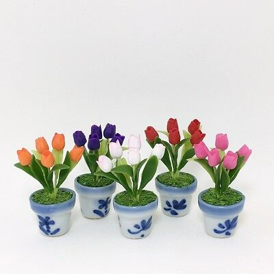 Dollhouse Miniature Flower Set 5 Hyacinth Clay Plant Handcraft Home Decor