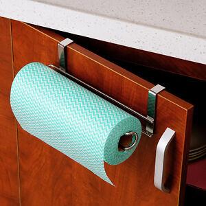 Paper Towel Holder Rack Kitchen Under Cabinet Door Drawer Stainless Steel Silver