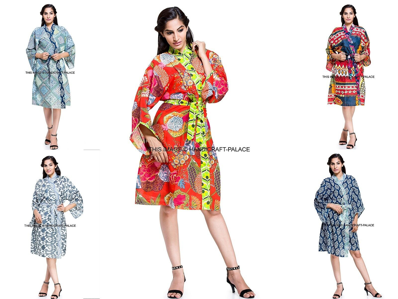 5 pcs Wholesale Lot Indian Cotton Kimono Short Nightgown Hippie Bath Robe Dress