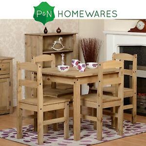 Beau ... Panama Pin Table Et 4 Ensemble Chaises Bois