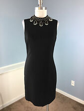 TRINA TURK Anthropologie S 6 8 Black Sheath Embellished Cocktail Party Dress EUC