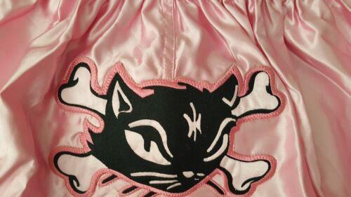 "/""Muay Thai shorts/"" Black Kitty on pink American Size X Large"