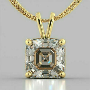 2-93Ct-Asscher-cut-Solitaire-Diamond-Pendant-Solid-14K-Yellow-Gold-No-chain