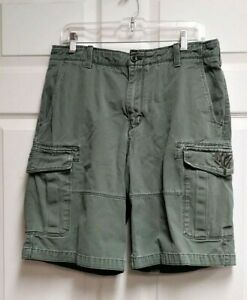 Timberland-Flat-Front-Olive-Green-6-Pockets-Relaxed-Cargo-Shorts-Men-039-s-Size-32