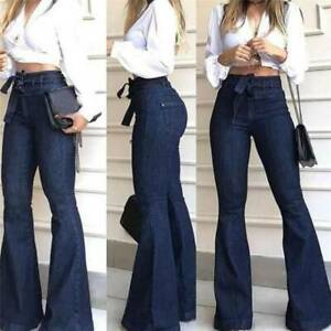 Women-High-Waist-Denim-Jeans-Stretch-Bell-Bottom-Pants-Flare-Wide-Leg-Trousers-Q