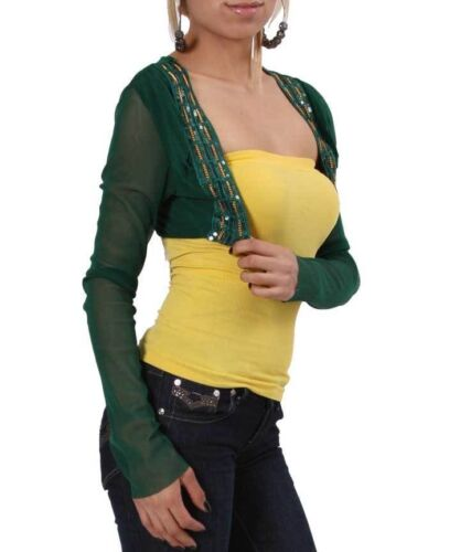 Green sheer nylon Short waist Bolero Jacket w//gold deco Designs.Petite One Size.