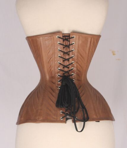 Brown Antique Real Leather Real Steel Bones Lace Up Back Under bust Corsets