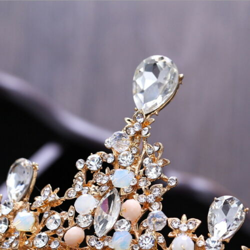 7cm High Clear Drip Crystal Beads Gold Large Crown Wedding Prom Party Pageant