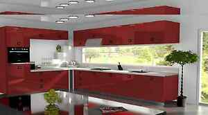Image Is Loading Red Gloss Replacement Acrylic Kitchen Doors Drawers Fronts