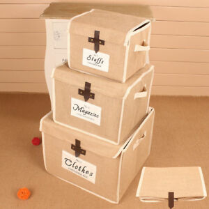 Image Is Loading 3 PCS Folding Heavy Duty Linen Storage Box