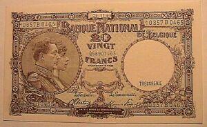 1944-Belgium-20-Franc-CH-CU-Original-Belgian-Belgique-Paper-Money-Currency-P111