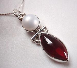 Cultured-Pearl-and-Garnet-925-Sterling-Silver-Pendant-Corona-Sun-Jewelry