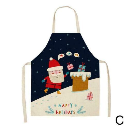 Blaue Schürze Baumwolle Leinen Küchenschürzen Frauen Weihnachtsdekoration M1Y4