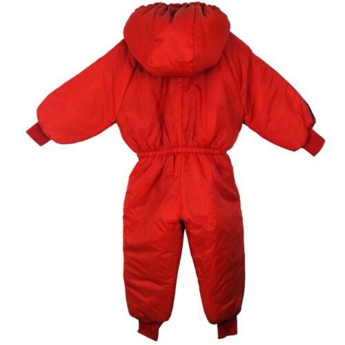 Kids Boys Girls Hooded Zip Up Winter Fleece Jumpsuit Warm Waterproof Suit 6-24M