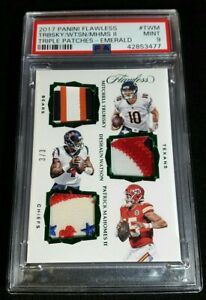 RC #'D 3/3 PATRICK MAHOMES II PSA 9 SSP TRIPLE ROOKIE PATCH 2017 Panini Flawless