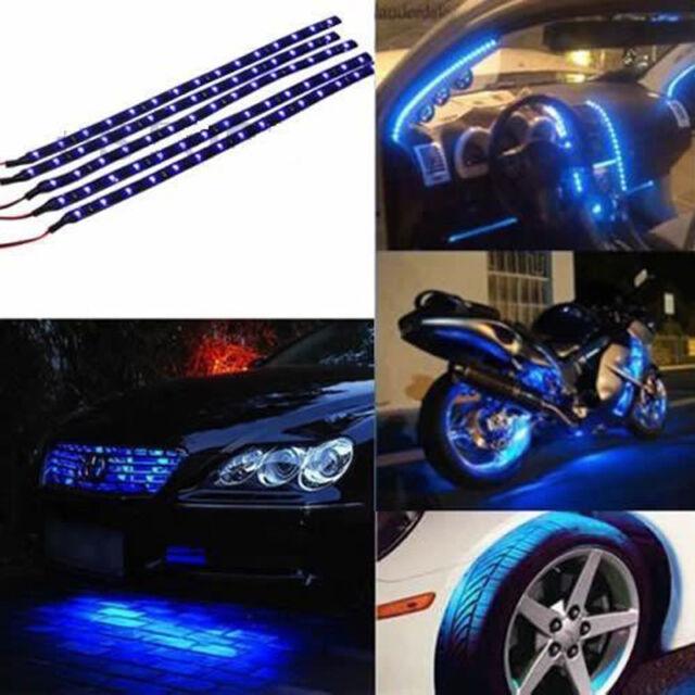New 4 X 15 LED 12V 30cm Car Motor Vehicle Flexible Waterproof Strip Light Blue