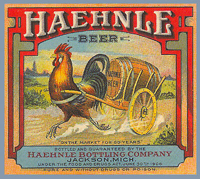 HAEHNLE BREWING BEER LABEL T SHIRT JACKSON MICH  SIZES SMALL-XXXLARGE F