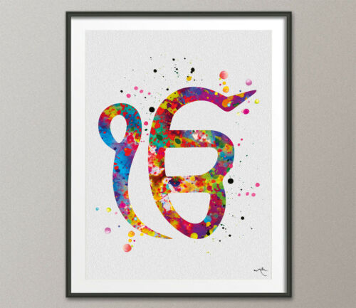 Ek Onkar 2 Watercolor Print Poster Wall Decor Art Khanda Wall Decor Art Sikh Art