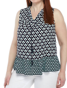 NWT-Crown-and-Ivy-Pintuck-Tassel-Career-Top-Sleeveless-Plus-Size-Navy-Mint-White