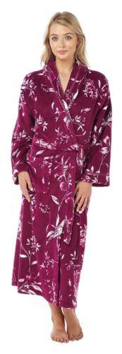 Womens 10-18 Fleece Dressing Gown Novelty Birds Print Design Blue Long Bath Robe