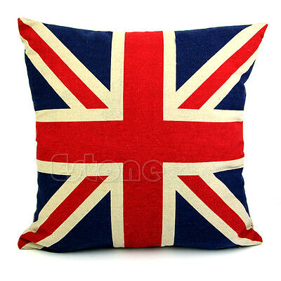 """Linen Square 16"""" Stars and Stripes US Flag Pillow Cases Sofa Cushion Cover Hot"""