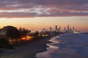 PRINT POSTER Gold Coast photo Surfers sunset Australia Fits A0 Glass Frame