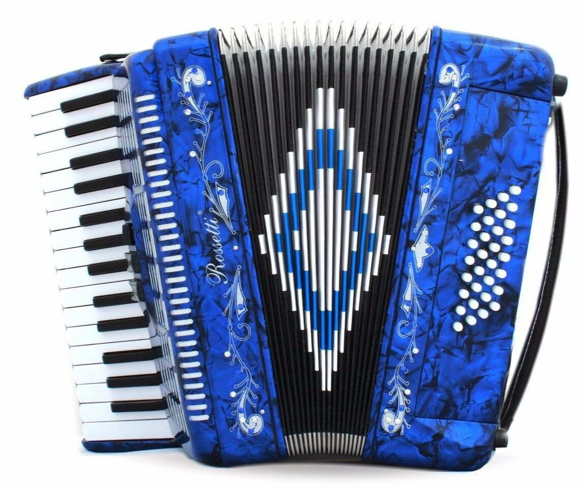 Rossetti 3032 Piano Accordion 32 Bass 30 Key 3 Switch Switch Switch Case & Straps Blau b5d2ba