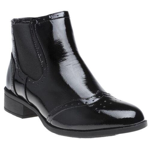 NUOVA linea donna Solesister Nero Daphne PU Stivali Alla Caviglia Con Elastico Pull On