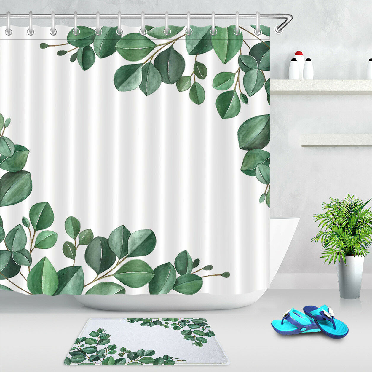 Tropical Leaves Bathroom Decor Polyester Waterproof Fabric