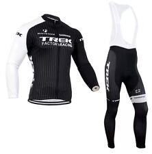 Trek Cycling Jersey Mens Long Sleeve Shirt + Bib Pants Set Winter Thermal Fleece