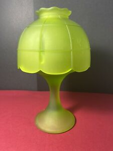Westmoreland-Unmarked-Satin-Green-Glass-Pedestal-Satin-Green-Shade-Fairy-Lamp