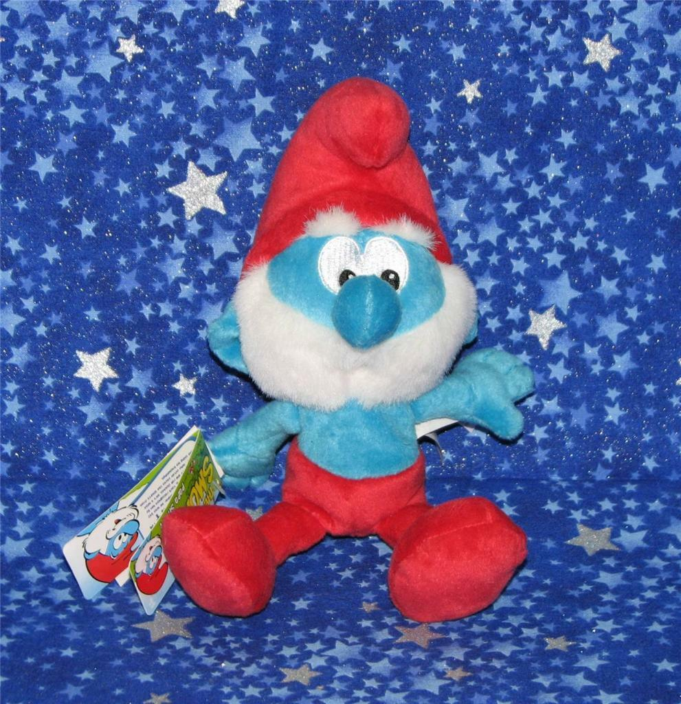 New with Tags Papa Smurf Vintage Style Smurfs Mini Plush Doll Toy