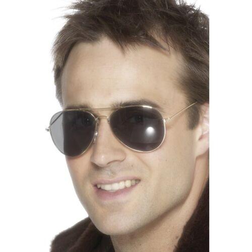 NEW Silver Aviator Specs Glasses Pilot Mens Fancy Dress Accessories