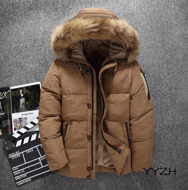 Men Fur Collar Jacket Hooded Coat Winter Warm Parka Duck Down Cotton LHM15
