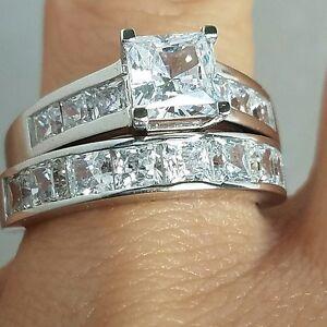 14k White Gold Princess Man Made Diamond 2 Pc Engagement Wedding