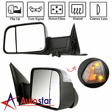 2 Tow Mirrors Power Heated Led Signal For 02-08 Dodge Ram 1500/03-09 2500 3500