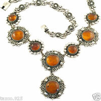 VINTAGE STYLE TAXCO MEXICAN STERLING SILVER AMBER BEAD BEADED NECKLACE MEXICO
