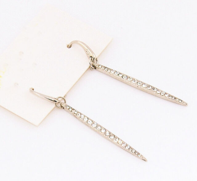 New Silver Tone Crystal lock Pave Logo  Brand Earrings